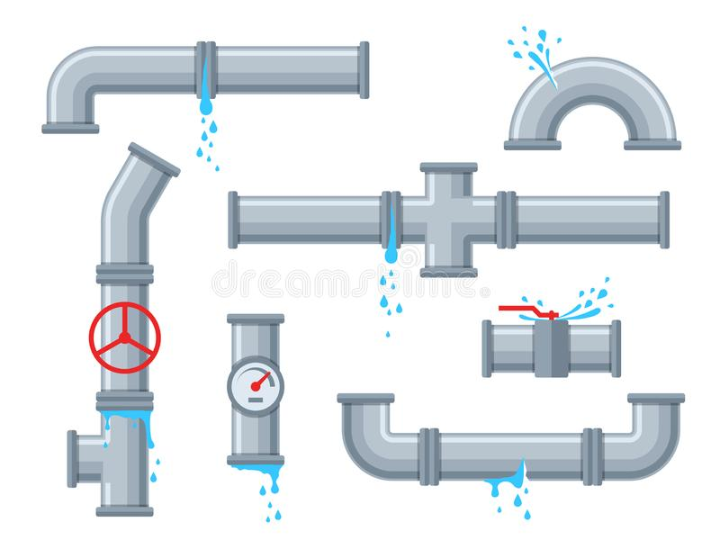 Pipe with leaking water. Broken pipes with leakage, plastic pipeline rupture. Dripping drain faucet, water supply vector illustration