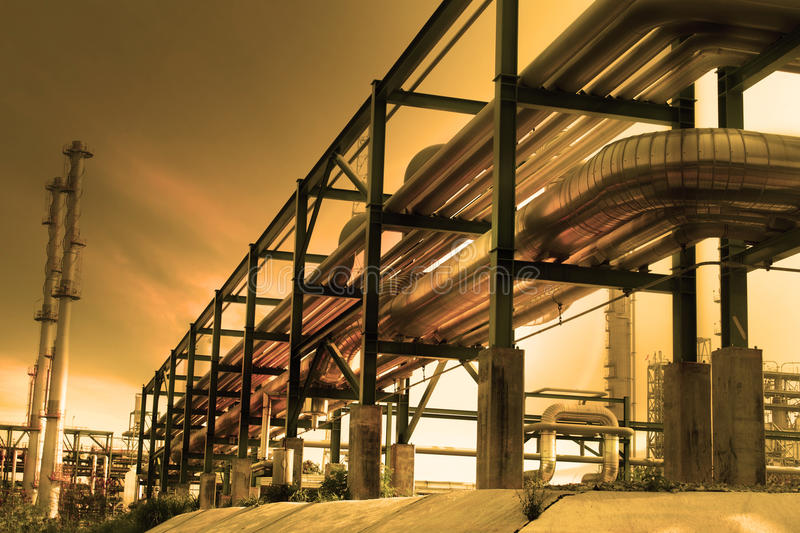 Pipe line in industry estate stock photos