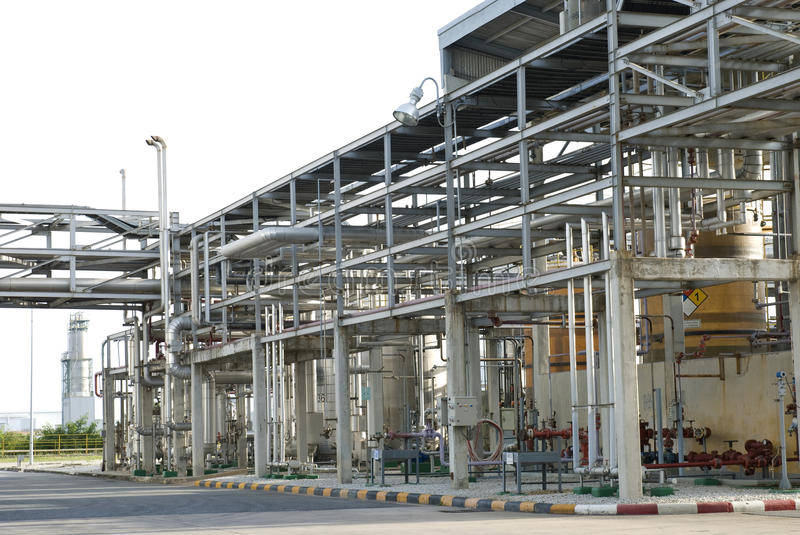 Pipe line of petrochemical plant stock photos