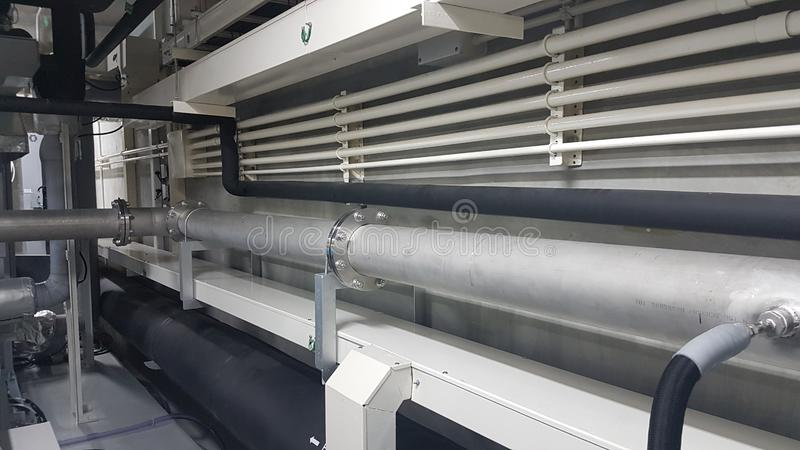 Pipe line system and conduit and cable duct for the gas system and electrical systems. Pipe line system conduit cable duct gas electrical systems stock photo