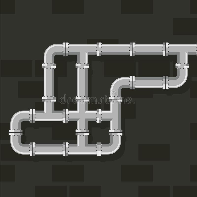 Pipe line for water, gas and oil vector art. Tube lines for plumbing and piping work. Details and connectors industrial. Pipes and tube vector illustration vector illustration