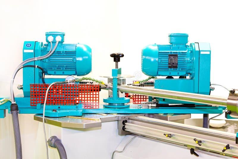 Pipe machine. Close up shot of pipe bending machine royalty free stock image