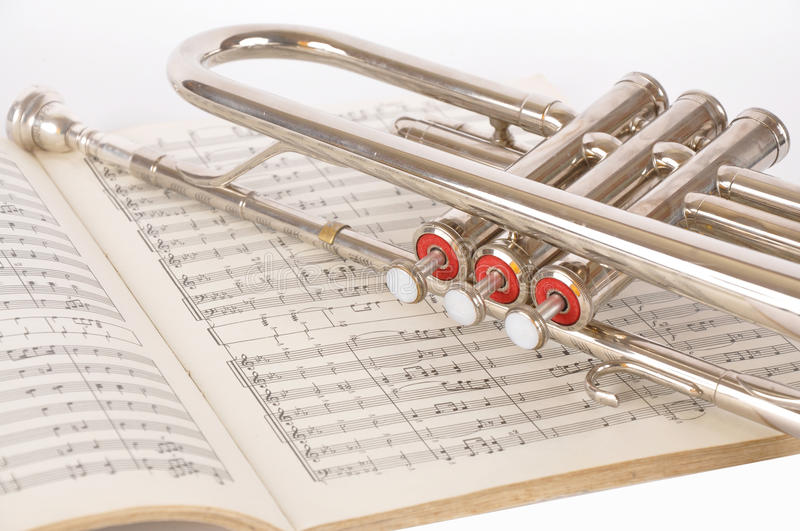 Pipe on a musical notebook royalty free stock photo