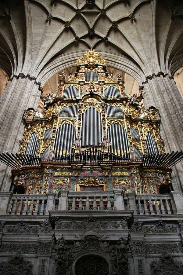 Pipe organ. Organ in Salamanca cathedral in Spain. Beautiful old church interior royalty free stock image