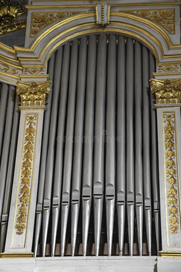 Pipe organ inside a church in Rome stock photo