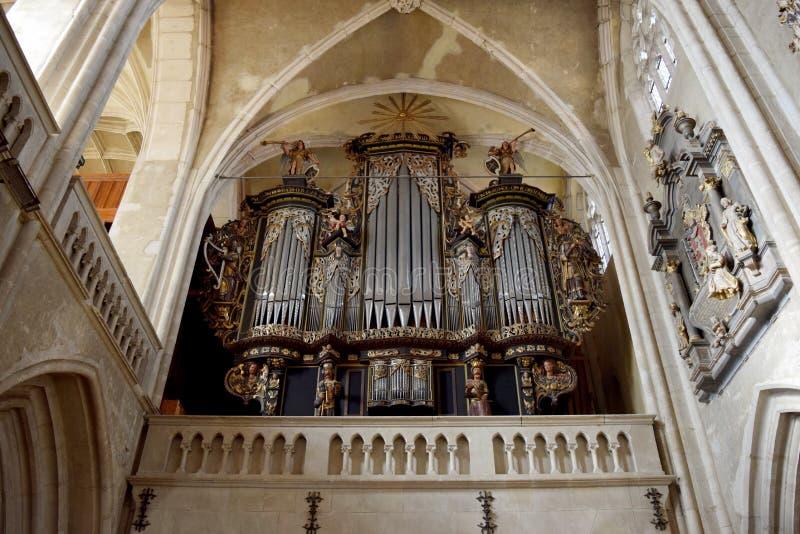 Pipe organ. Inside Evangelical Church in Sibiu Romania royalty free stock image