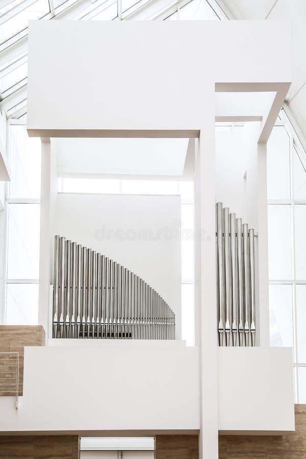 Pipe organ of Jubilee Church stock photo