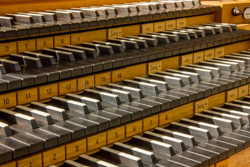 Pipe organ keys. Detail in reykjavik, Iceland royalty free stock photography