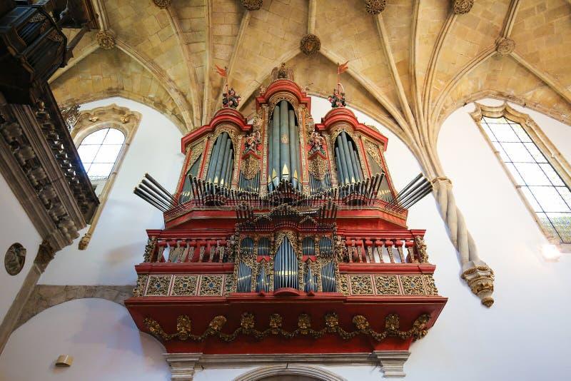 Pipe organ in the Monastery of Santa Cruz (Coimbra). Baroque pipe organ of the 18th century inside the Monastery of Santa Cruz in Coimbra, Portugal royalty free stock photo