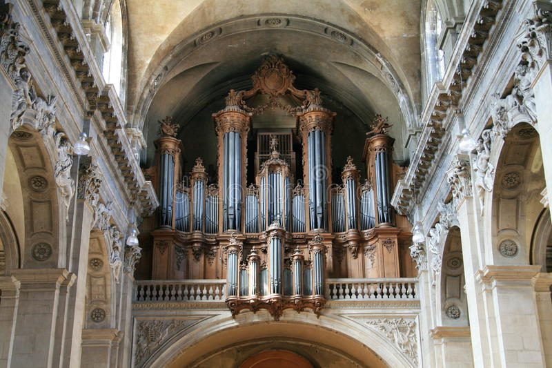 Pipe Organ of Nancy. Organ with pipes of the cathedral of Nancy royalty free stock photography