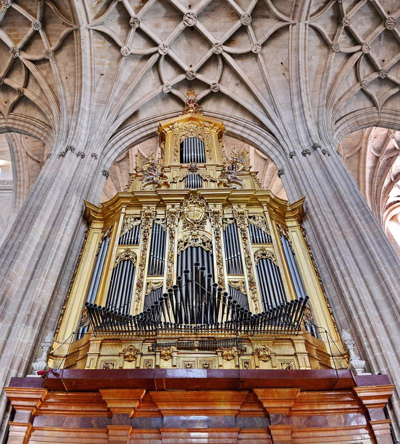 Pipe Organ. In Segovia cathedral, Spain royalty free stock photos
