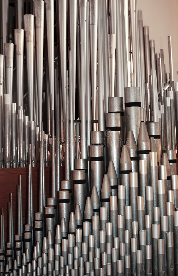 Pipe organ pipes. Array of pipe organ pipes royalty free stock images