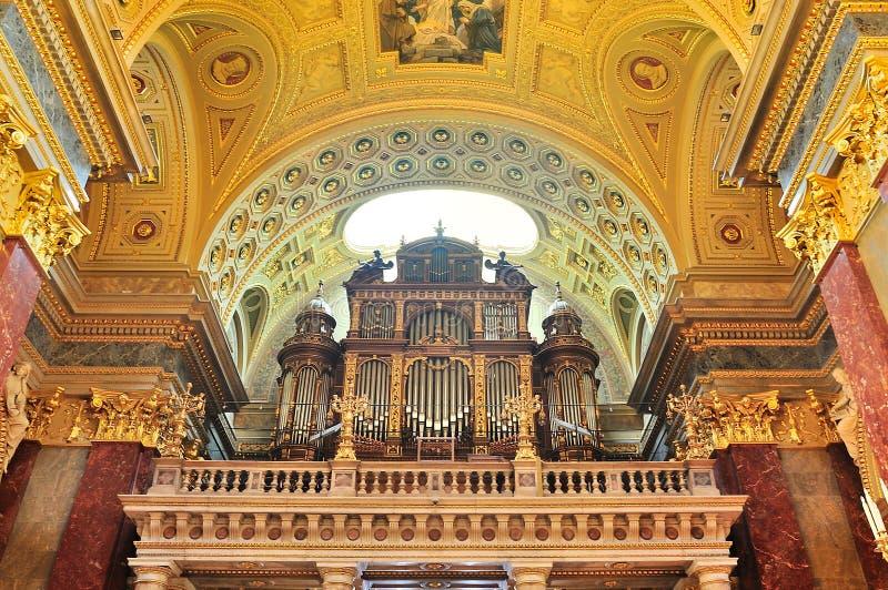 Pipe organ of St. Stephen's Basilica, Budapest. stock photo