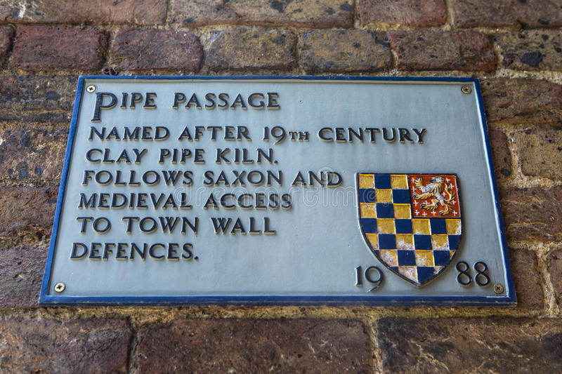 Pipe Passage in Lewes. A plaque at Pipe Passage in the historic town of Lewes in East Sussex, UK stock images