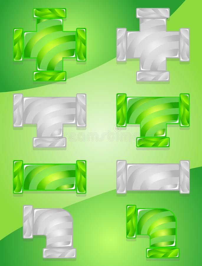 Pipe plumber Color Green and Gray candy icon set. royalty free illustration