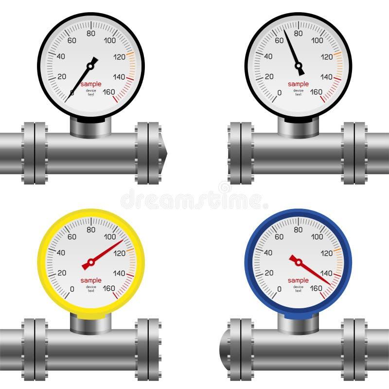 Pipe pressure gauge set stock illustration
