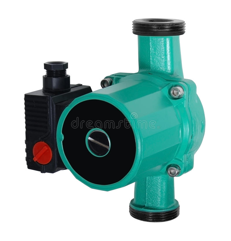 Pipe Pump. Green Pipe Pump isolated overe white background stock images