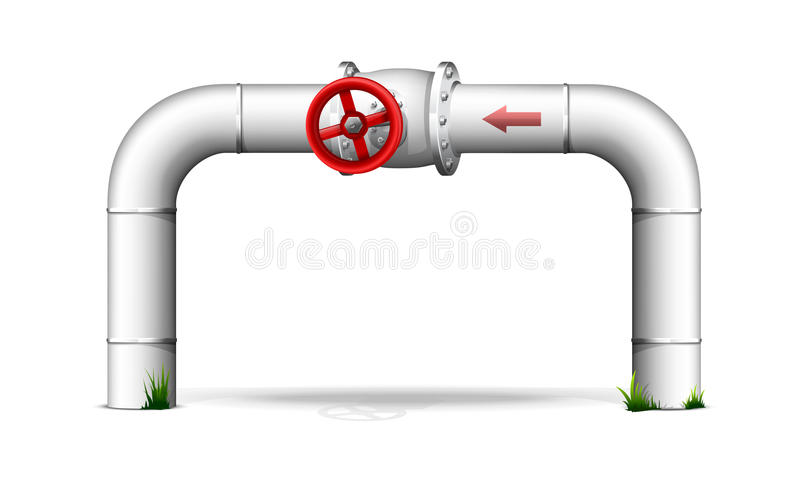 Pipe with red valve royalty free illustration