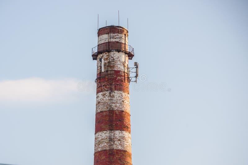 Pipe for smoke, factory, metallurgy stock image