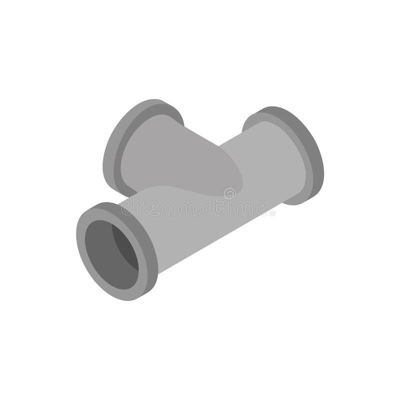 Pipe tee for water supply isolated. Isometric style vector illustration