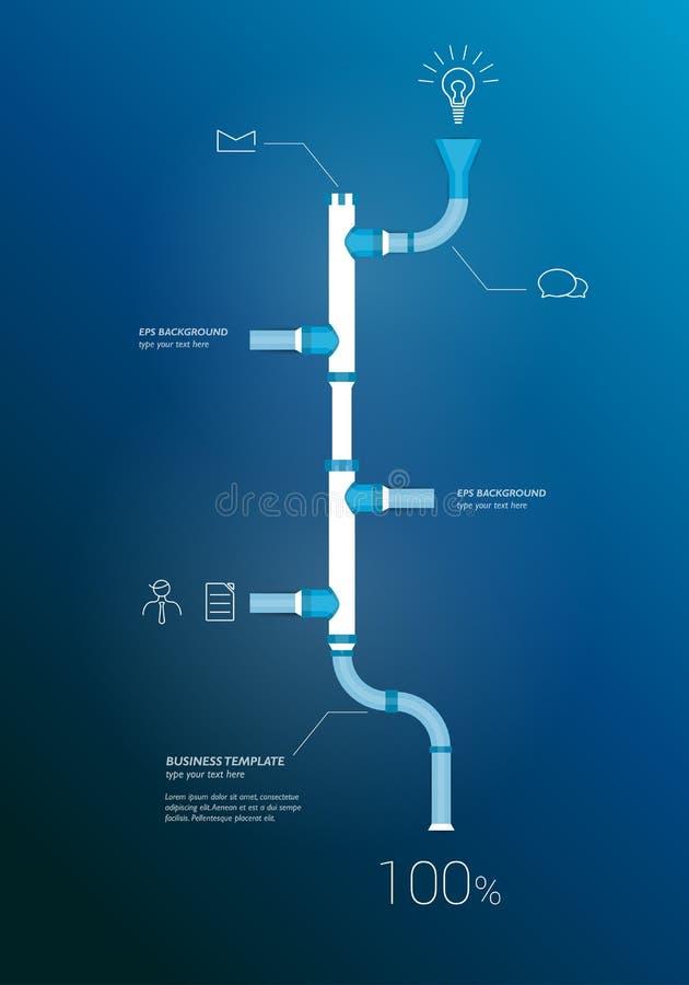 Pipe timeline infographics chart. stock illustration