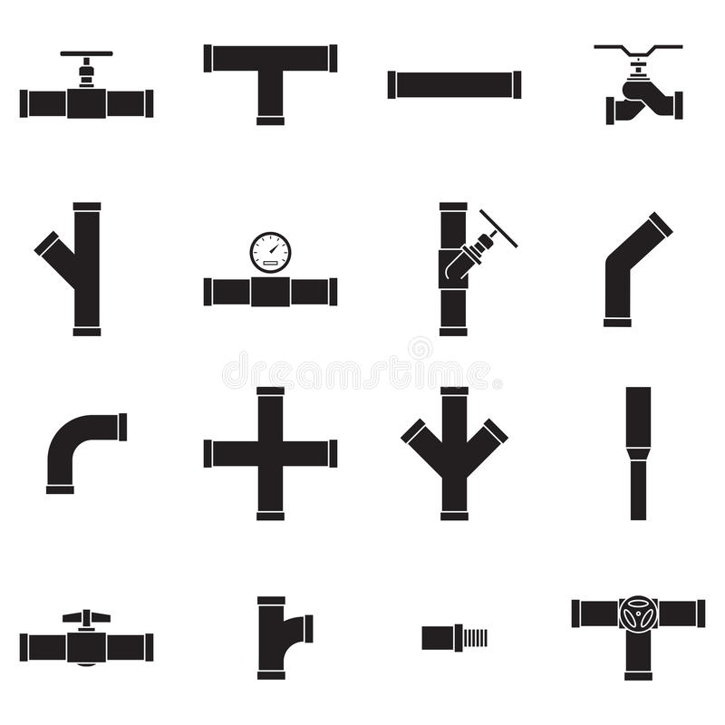 Pipe and Valve icon set royalty free illustration