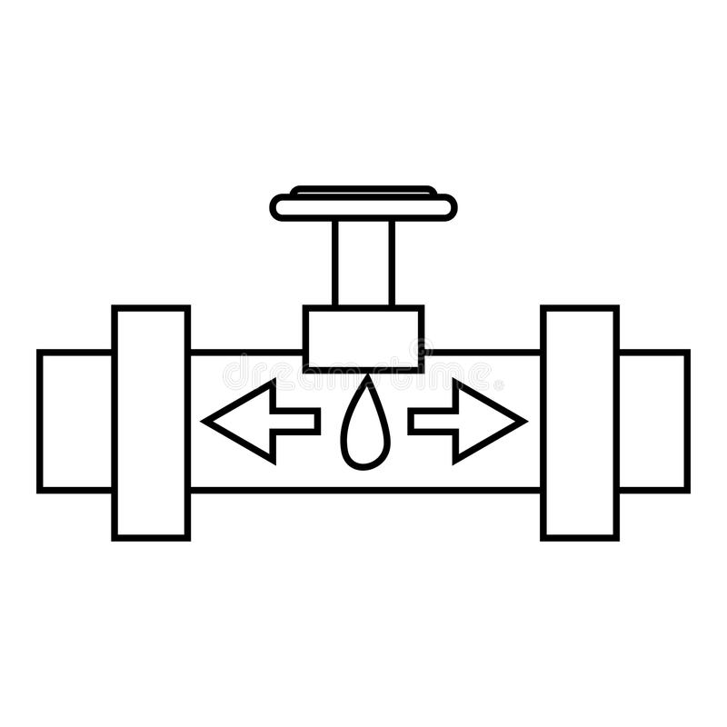 Pipe with valves icon, outline style. Pipe with valves icon. Outline illustration of pipe with valves vector icon for web vector illustration