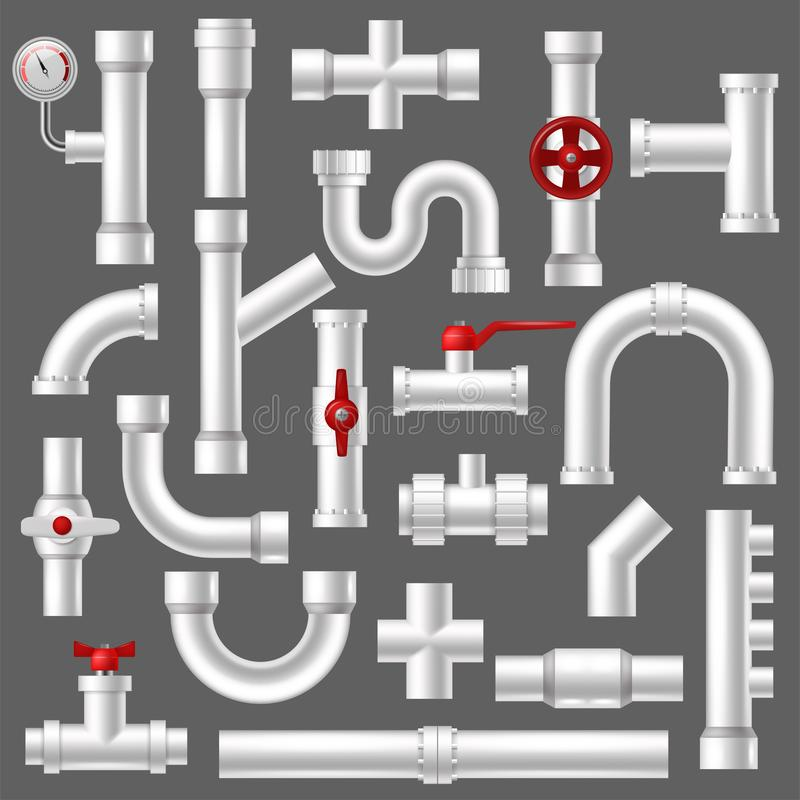 Pipe vector plumbing pipeline or piped tubing construction of piping system illustration set of plastic tubes with. Valves isolated on background vector illustration