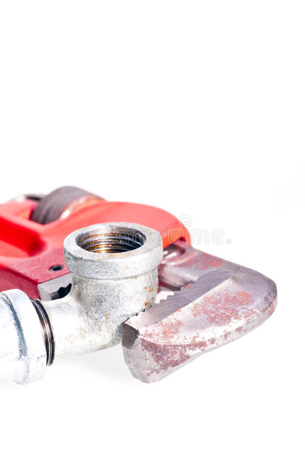 Free Pipe Wrench Fixing A Tap Joint Royalty Free Stock Photos - 22505188