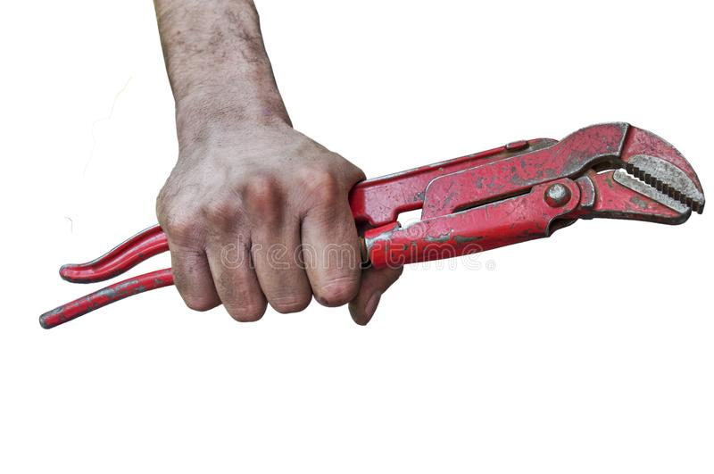 Pipe wrench isolated over a white background. Close stock photos