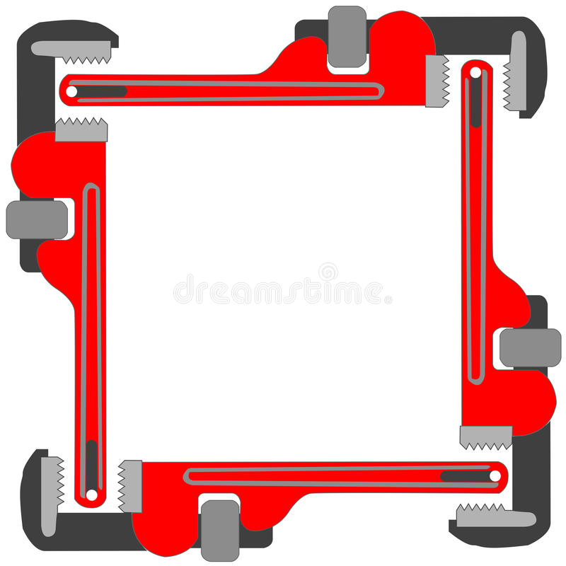 Download Pipe wrench photo frame stock vector. Image of repair - 12519184