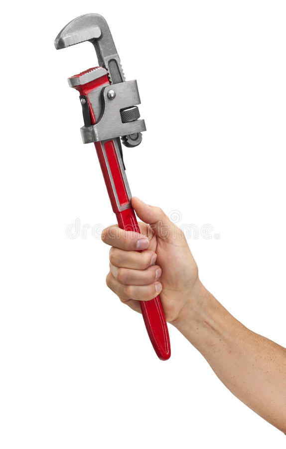 Pipe Wrench Tool Hand. A hand holding a pipe wrench on a white background stock image