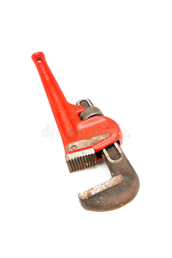 Pipe wrench on white stock images