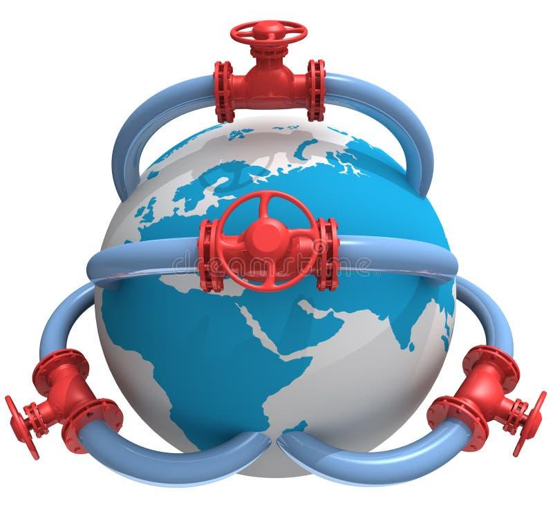 Pipeline. 3D rendered pipeline with globe on white stock illustration