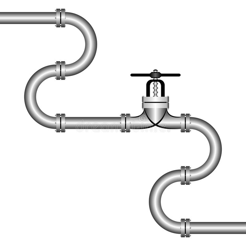 Pipeline. The zigzag pipeline on a white background. On the middle there is a stopcock royalty free illustration