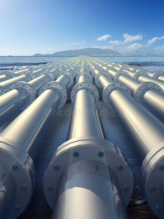 Pipeline. Leading to the island vector illustration