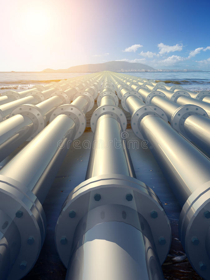 Pipeline. Leading to the island royalty free illustration