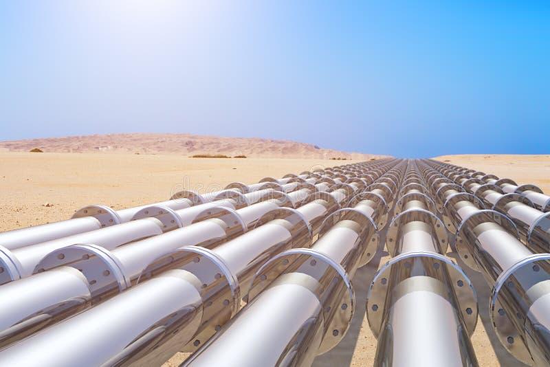 Pipeline. Several pipeline in the desert vector illustration