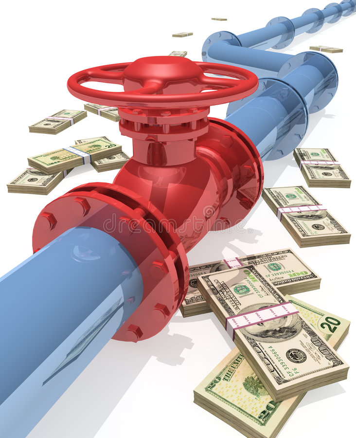 Pipeline. 3D rendered pipeline with money stock illustration