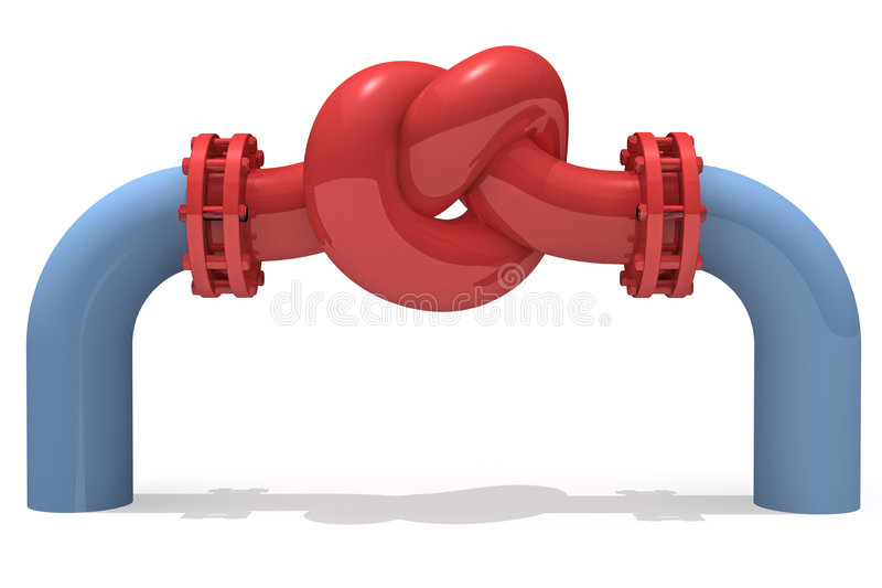 Pipeline. 3D rendered knot from pipeline stock illustration