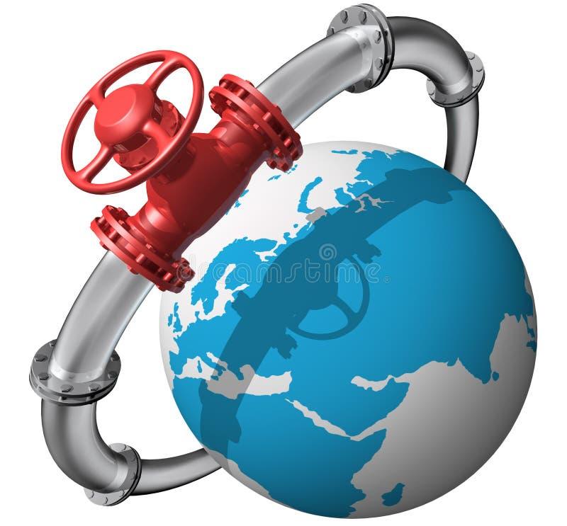 Pipeline. 3D rendered pipeline with globe on white vector illustration
