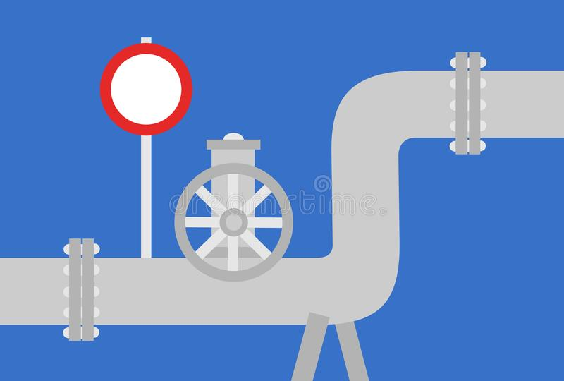 Pipeline and abandon of gas. Pipeline with oil and gasoline. Valve wheel and prohibitory traffic sign - abandon, cancel and cut off of energy supply. Prohibition vector illustration