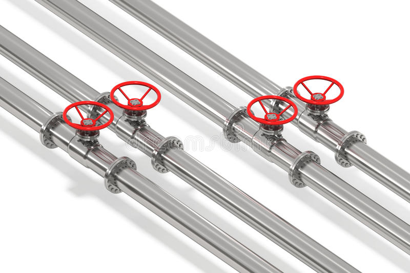 Pipeline From Above. Photo Realistic pipeline tubes with throttle control wheel, isolated stock illustration