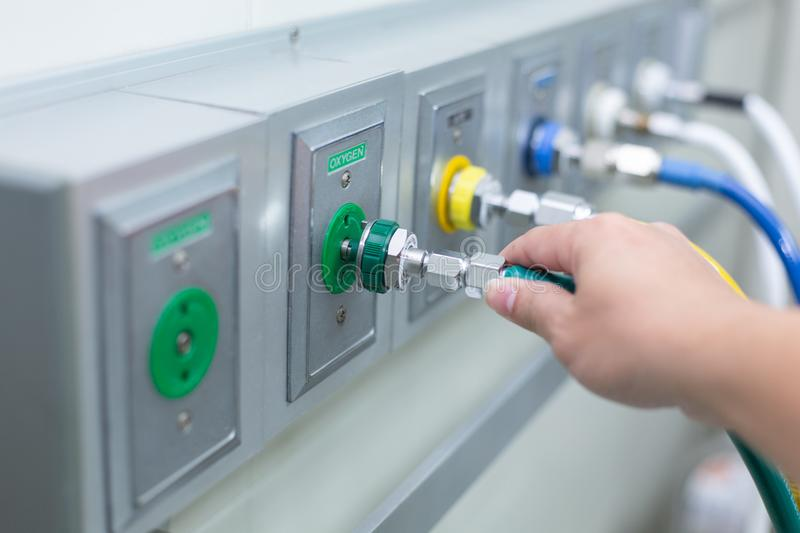 Pipeline anesthesia On Opareting Room. On oxygen stock images