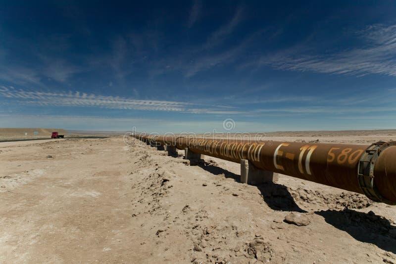 Pipeline through Atacama Desert royalty free stock photo