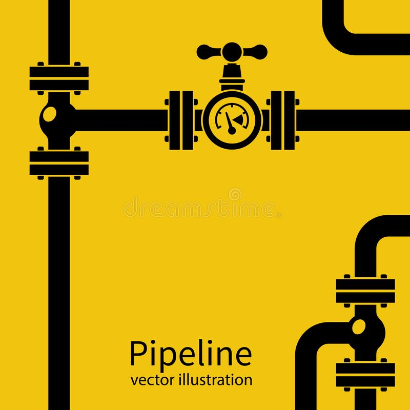 Pipeline background black silhouette. Pipe system with valves for water of gas oil. Vector illustration flat design. Isolated on yellow industrial background stock illustration