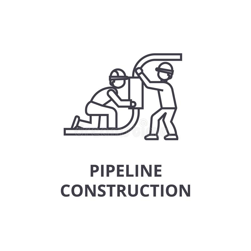Pipeline construction vector line icon, sign, illustration on background, editable strokes. Pipeline construction vector line icon, sign, illustration on white royalty free illustration