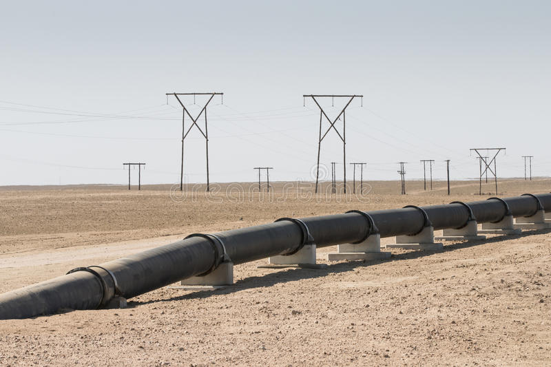 Pipeline in the desert stock photos