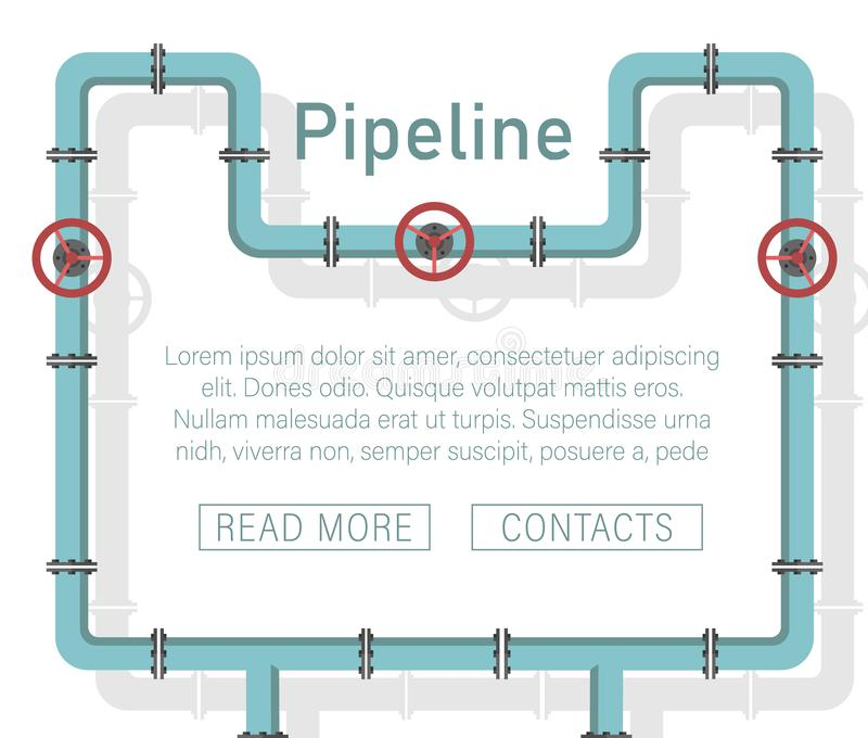 Pipeline design background. Pattern with pipe with valve vector illustration pipeline design.Valve, pipe connectors, meters, pipe details vector set vector illustration