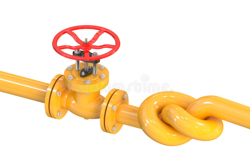 Pipeline with a knot. Isolated on white background vector illustration